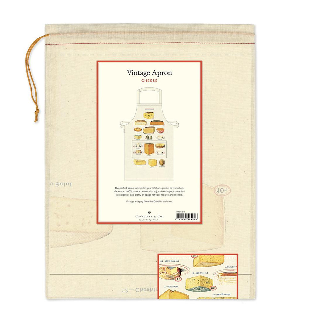 Cavallini - 100% Natural Cotton Vintage Apron - 48x80cms - Cheese/La Fromagerie