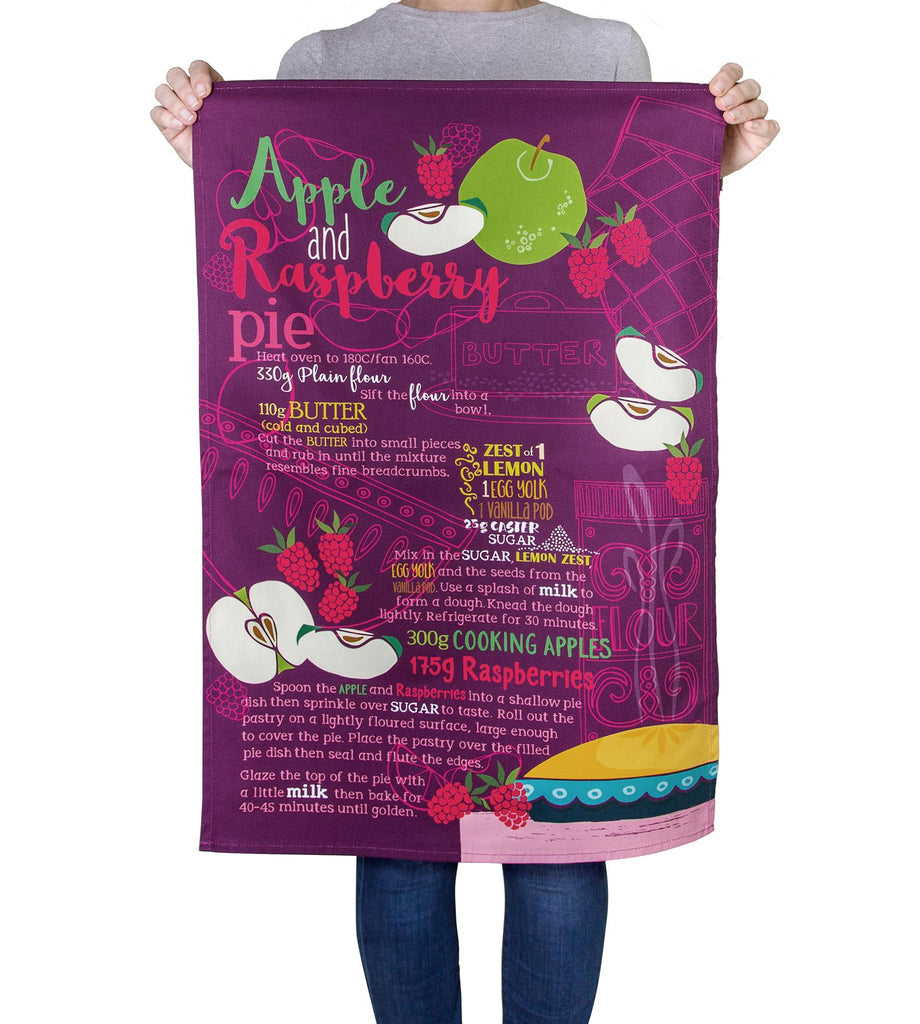 Apple & Raspberry Pie Recipe - 100% Natural Cotton Tea Towel - 70 x 48cms - Joanne de Pace