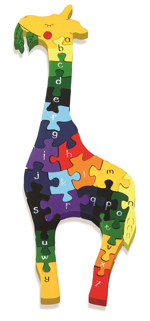 Alphabet Jigsaws - Wooden Giraffe A-Z Puzzle - Chunky, Bright & Educational - 16.5x42.5cms