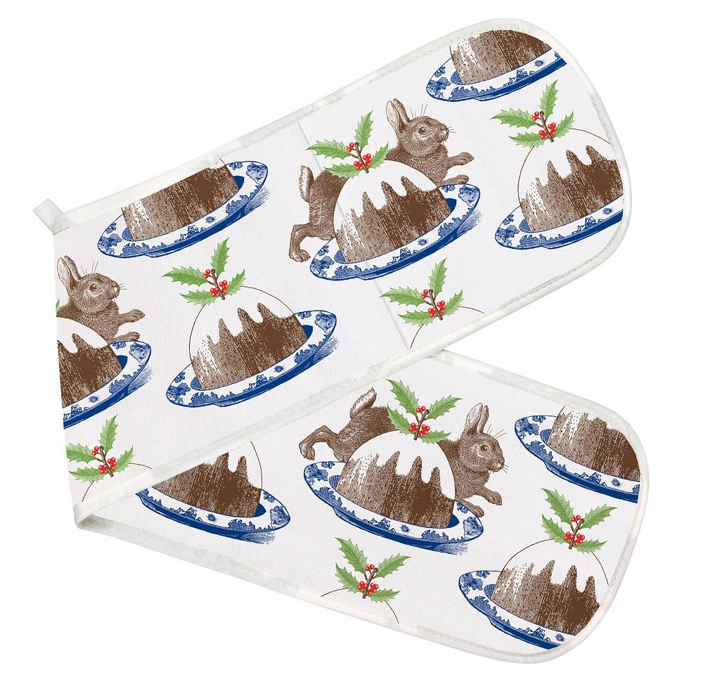Thornback & Peel - 100% Cotton - Double Oven Glove/Mitt - Rabbit & Christmas Pudding