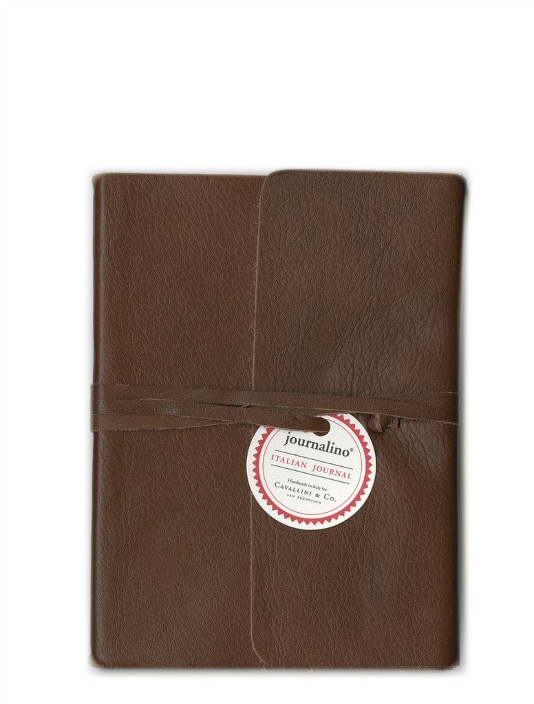 Cavallini - Slim Brown Leather Journalino - Small 5x7ins or Medium 6x8ins - 128 Lined Pages