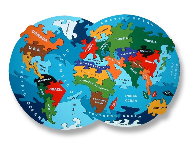 Map Of The World - Wooden Jigsaw Puzzle - Chunky, Bright & Educational - 39x26cms