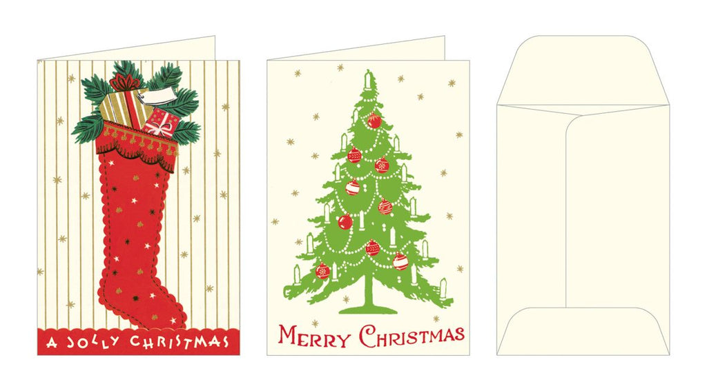Cavallini - Tin of Glittered Petite Notes - 2 Designs - 12 Cards - Vintage Christmas