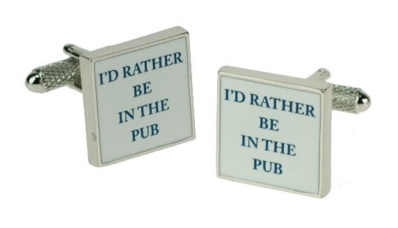 Novelty Cufflinks - I'd Rather Be At The Pub - CK601 - Onyx Art