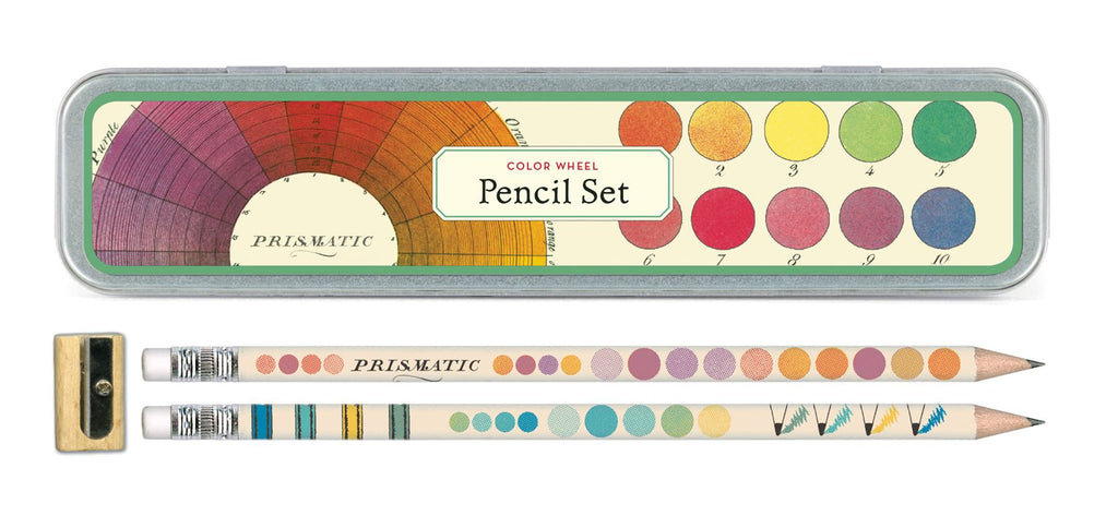 Cavallini - Tin of Pencils - Colour Wheel - 10 Pencils/2 Designs, & Sharpener