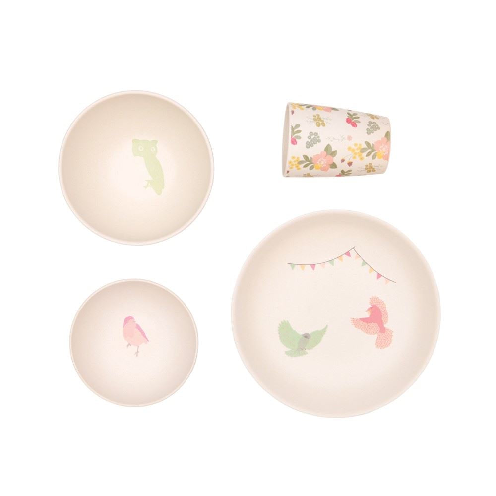 Love MAE - 4pc Bamboo Dinner Set - Plate/Cup/2 x Bowls - Woodland Supper