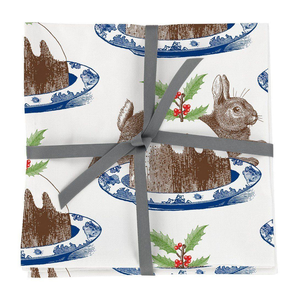 Thornback & Peel - 100% Cotton Napkins - Set of 4 - 45 x 45cms - Rabbit & Christmas Pudding