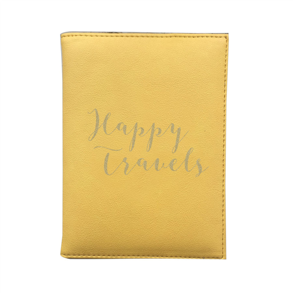 Bombay Duck - Happy Travels - Sunshine Yellow/Gold Passport Holder/Cover- Printed Faux Leather
