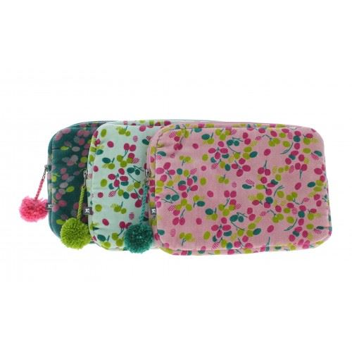 Fiona Walker Mini iPad/Tablet Case - Velour With Pom Pom Zip - Available in Blue, Green or Pink