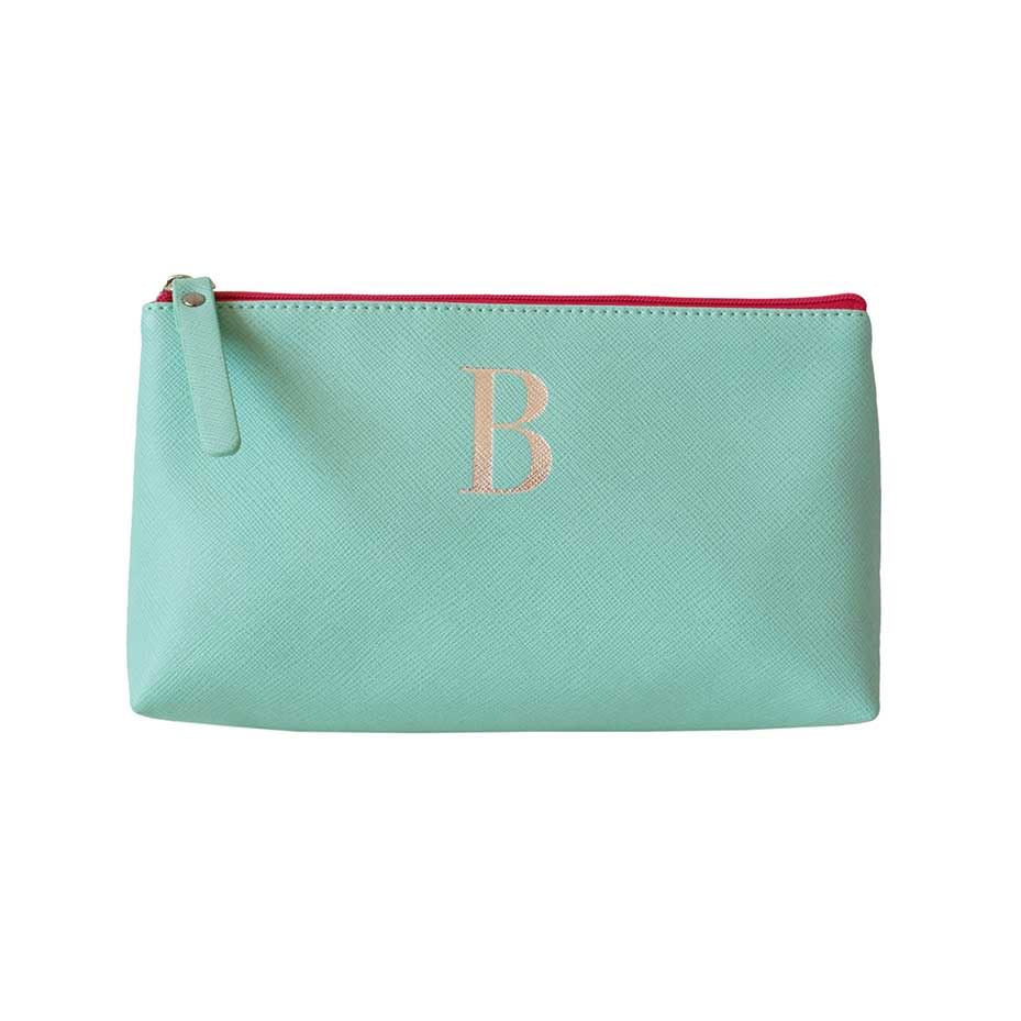 Bombay Duck - Monogrammed Alphabet Make Up Bag With Metallic Letter - A to Z
