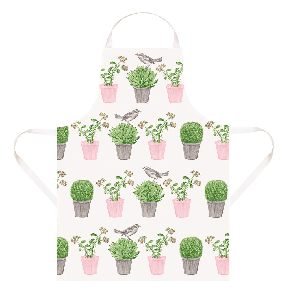 Thornback & Peel - 100% Cotton - Full Length Apron 60 x 80cms - Cactus & Bird