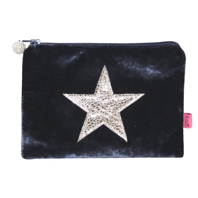 Lua - Velvet Coin Purse With Appliqued Metallic Star 11 x 16cms - 4 Colour Options