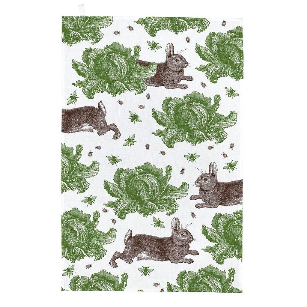 Thornback & Peel - 100% Cotton - Tea Towel - 47 x 77cms - Rabbit & Cabbage