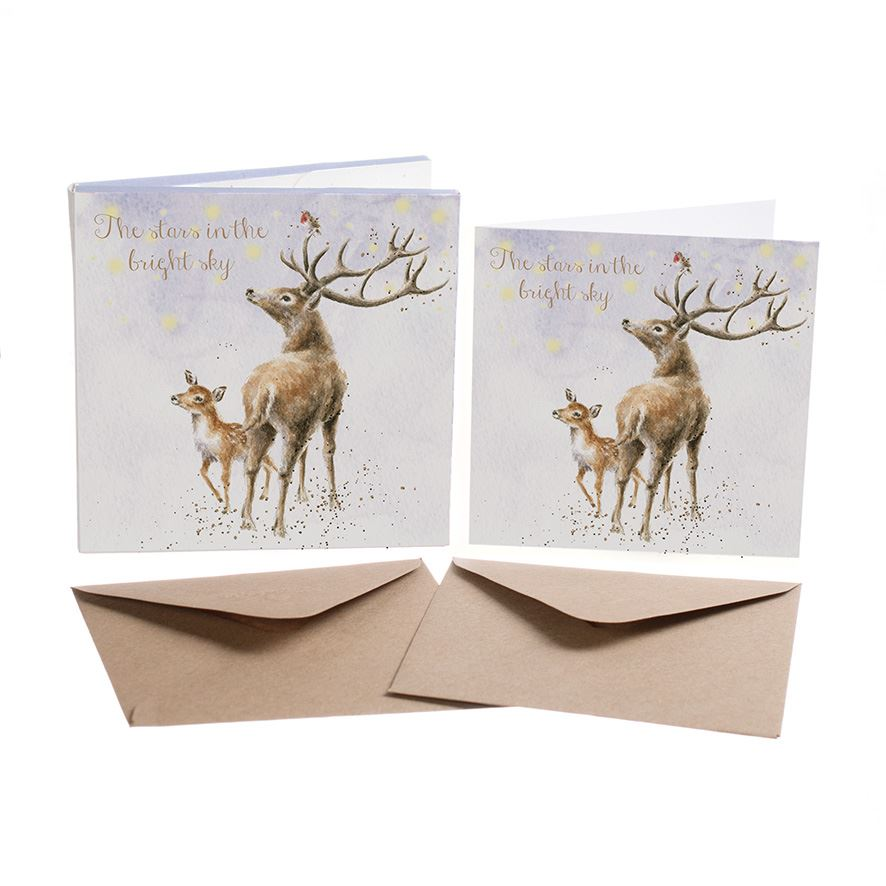 The Stars In The Bright Sky - 8 Luxury Gold Foiled Xmas Cards & Envelopes - Wrendale Designs