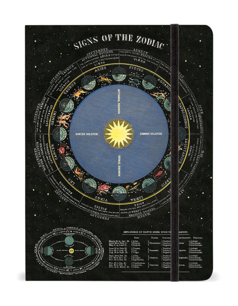 Cavallini - Large Lined Notebook 6x8ins - Signs Of The Zodiac - 144 Pages With Elastic Enclosure