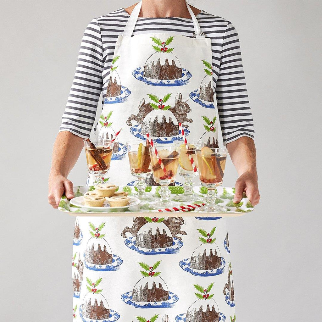 Thornback & Peel - 100% Cotton - Full Length Apron 60 x 80cms - Rabbit & Christmas Pudding
