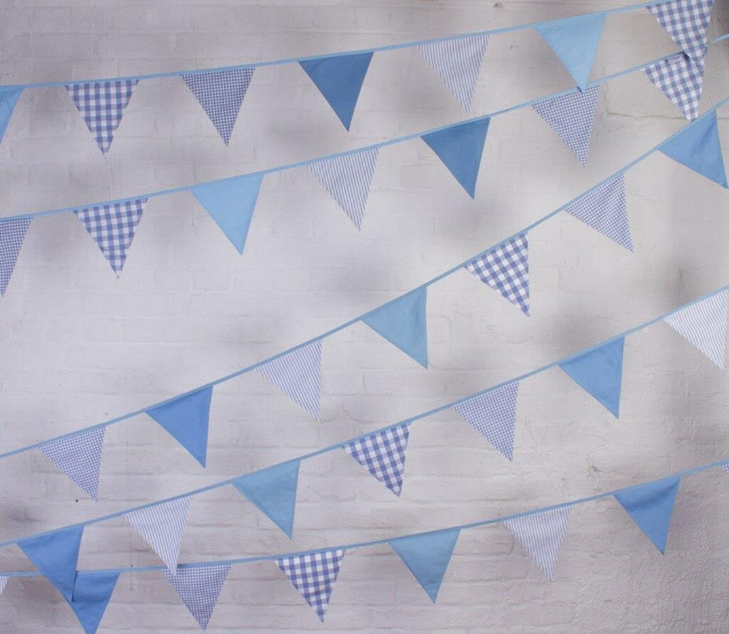 100% Cotton Bunting - Shades of Blue - 10m/33 Double Sided Flags