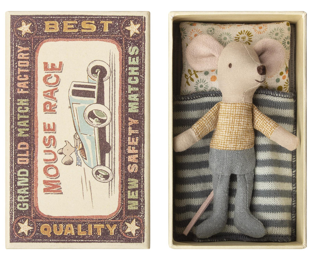 Maileg - Little Brother - Matchbox Mouse - Yellow & Grey - Boxed With Bedding