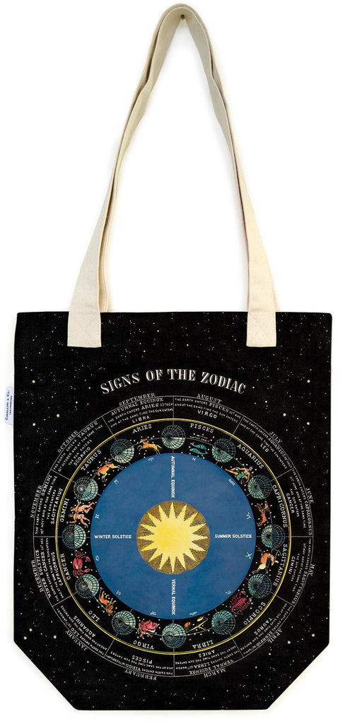 Cavallini - 100% Natural Cotton Vintage Tote Bag - 33x40.5cms - Signs Of The Zodiac