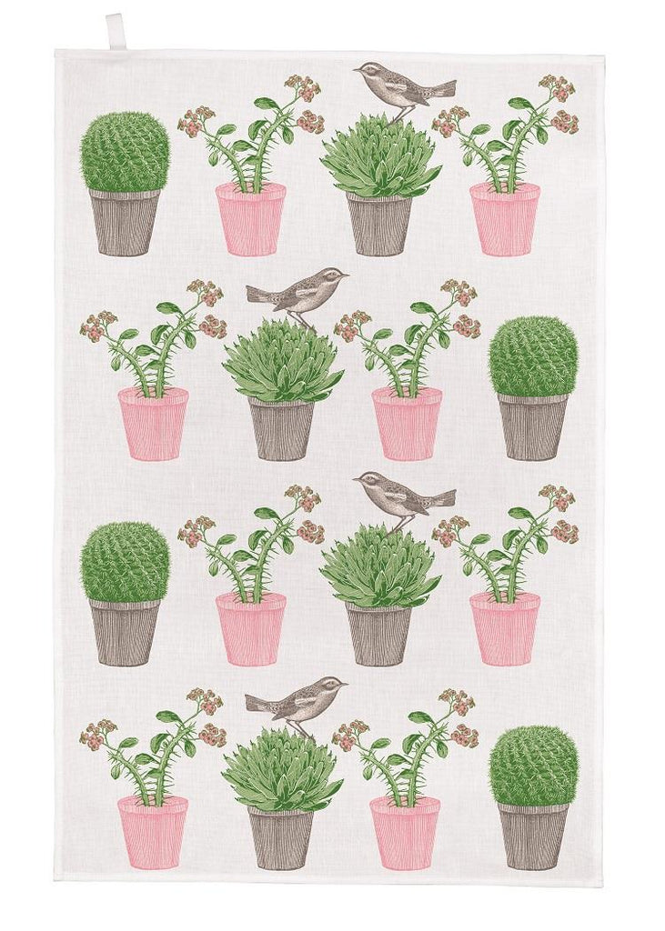 Thornback & Peel - 100% Cotton - Tea Towel - 47 x 77cms - Cactus & Birds