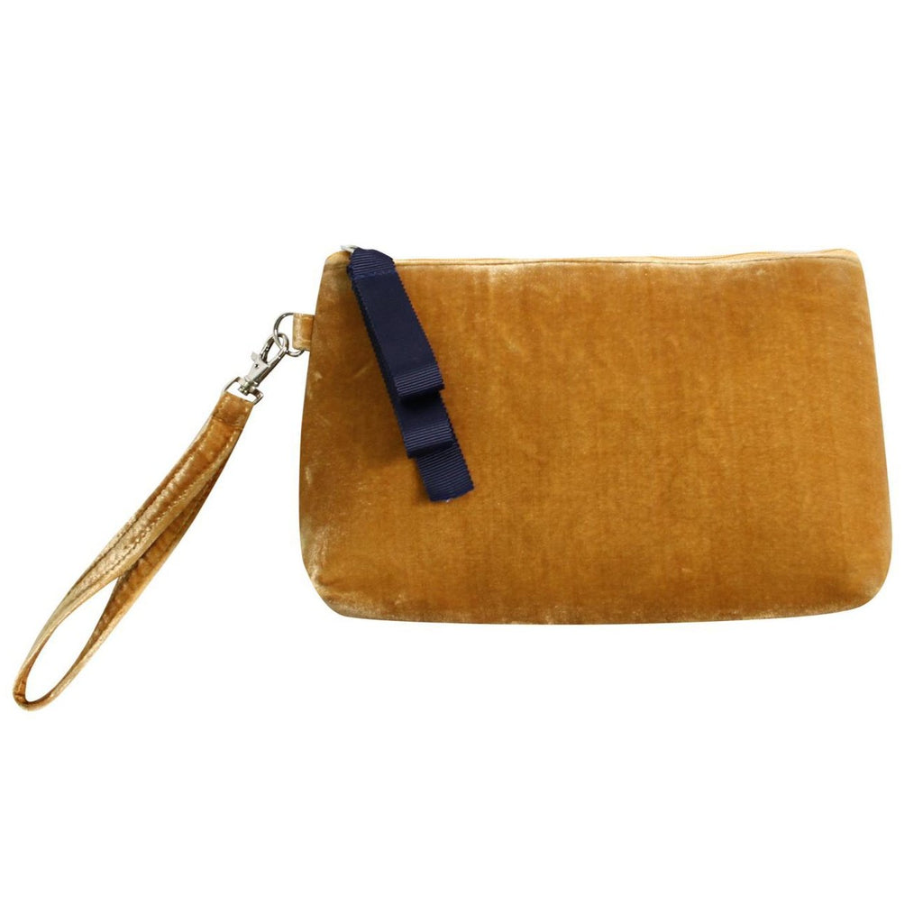 Earth Squared - Velvet Clutch Bag/Purse - Mustard Yellow - 23 x 13 x 5cms