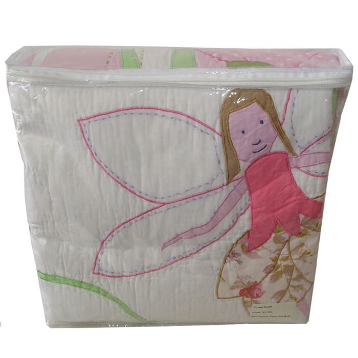100% Cotton Pocket Stitched Bed Quilt - Single - Fairies - Powell Craft