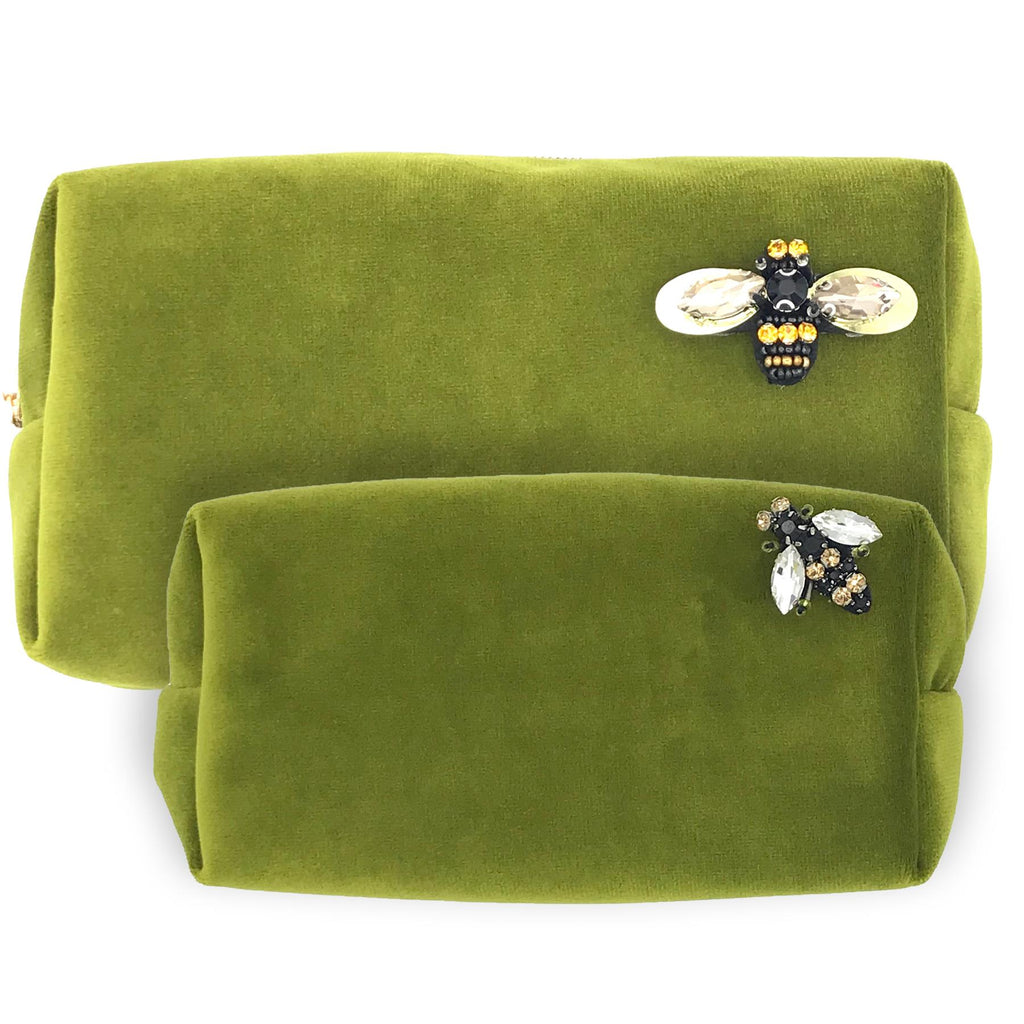 Chartreuse Velvet Make-Up Bag & Bumblebee Pin - Sixton London - Small or Large