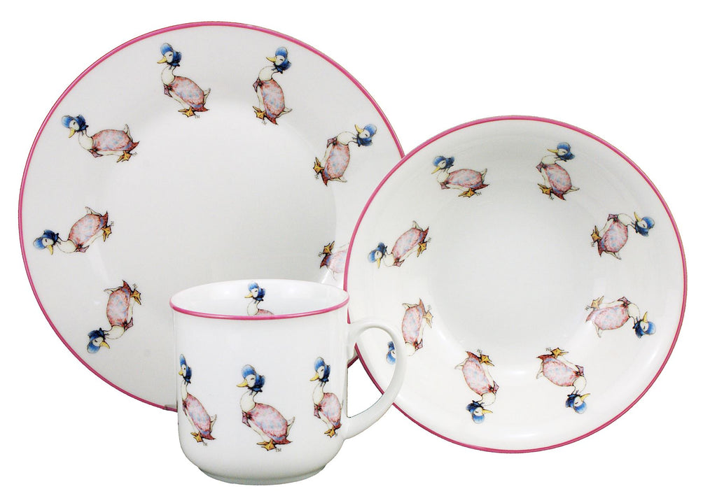 Jemima Puddleduck - 3 Piece Porcelain Dining Set - Mug, Cereal Bowl & Plate - Beatrix Potter by Reutter Porzellan-Christening/Naming Day/New Born Gift
