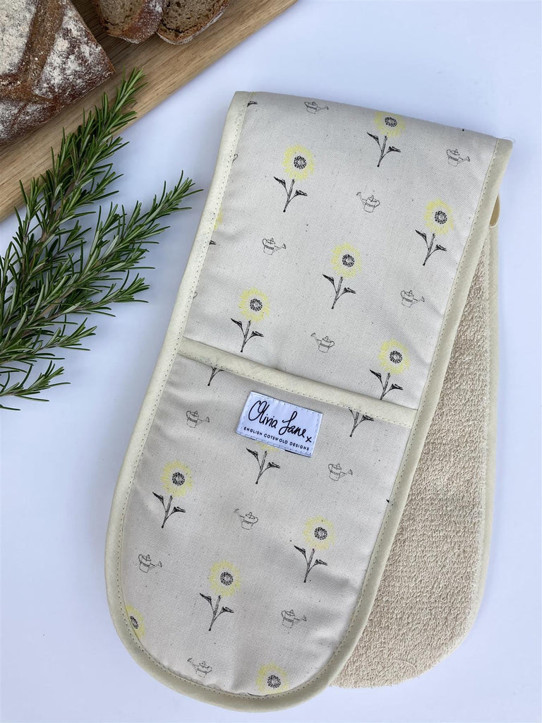 Olivia Jane Designs - 100% Cotton Double Oven Glove/Mitt - Sunny Side Up Sunflowers