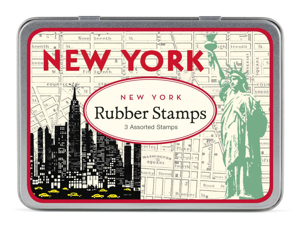 Cavallini - Tin of Rubber Stamps - New York City - Set of 3 Stamps