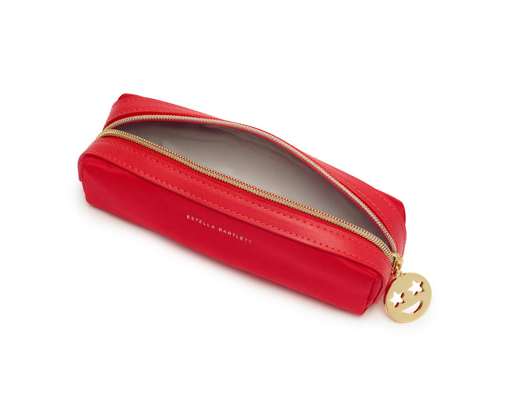 Pencil Case/Make Up Case - Red/Gold Smiley Face - 19x6x6cms - Estella Bartlett