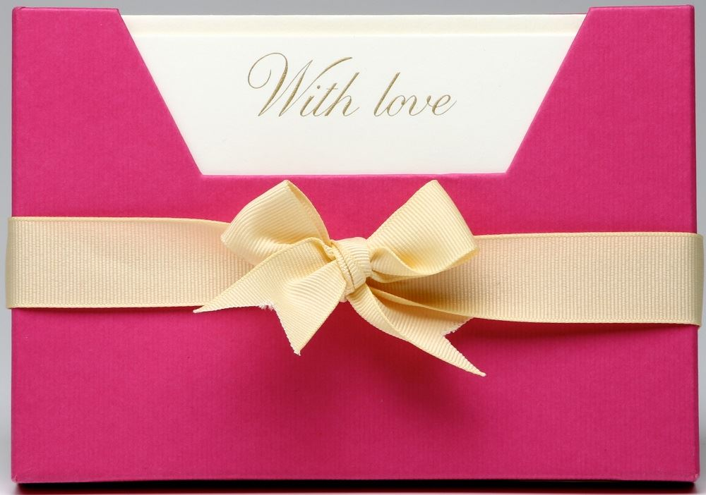 Julie Bell - Luxury Die Stamped Stationery - With Love - 10 Single Note Cards & Envelopes