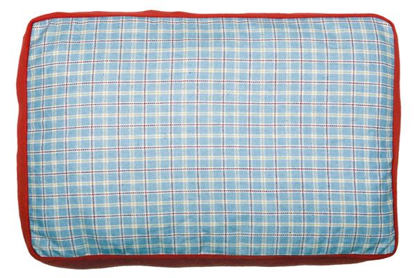 Creature Clothes - Dog Bed Cover - Summer Check/Red Fleece - Handmade in the UK - 55x80x10cms Fits A Folded Single Duvet