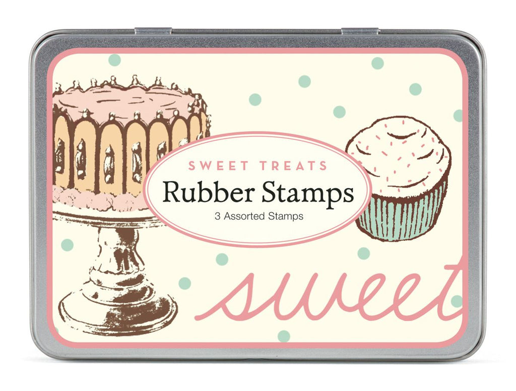 Cavallini - Tin of Rubber Stamps - Sweet Treats - Set of 3 Stamps
