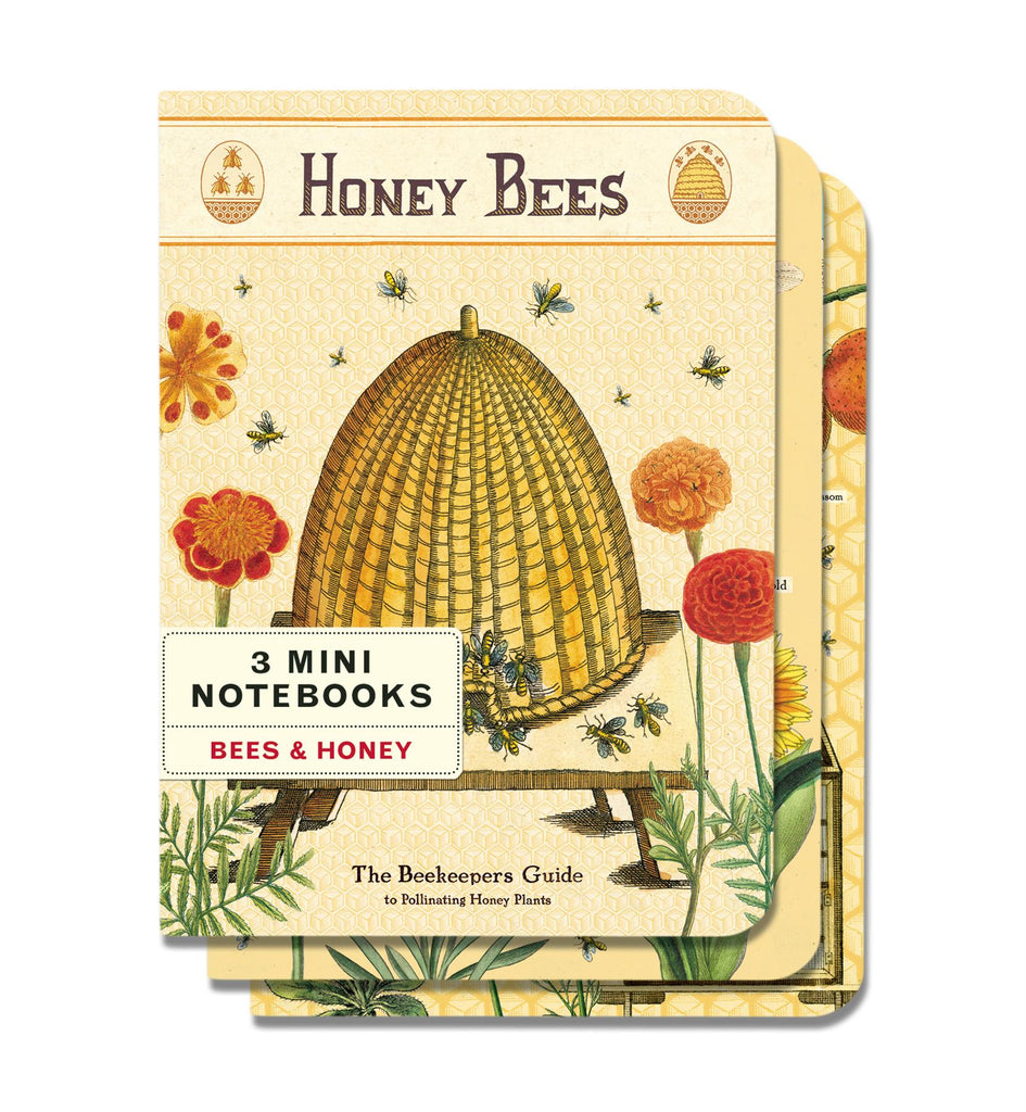 Cavallini - Set of 3 Mini Notebooks - Honey Bees - Lined, Blank & Graph Interiors