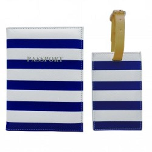 Bombay Duck - All Aboard! - Navy & White Passport Holder/Cover & Luggage Tag Set - Printed Faux Leather