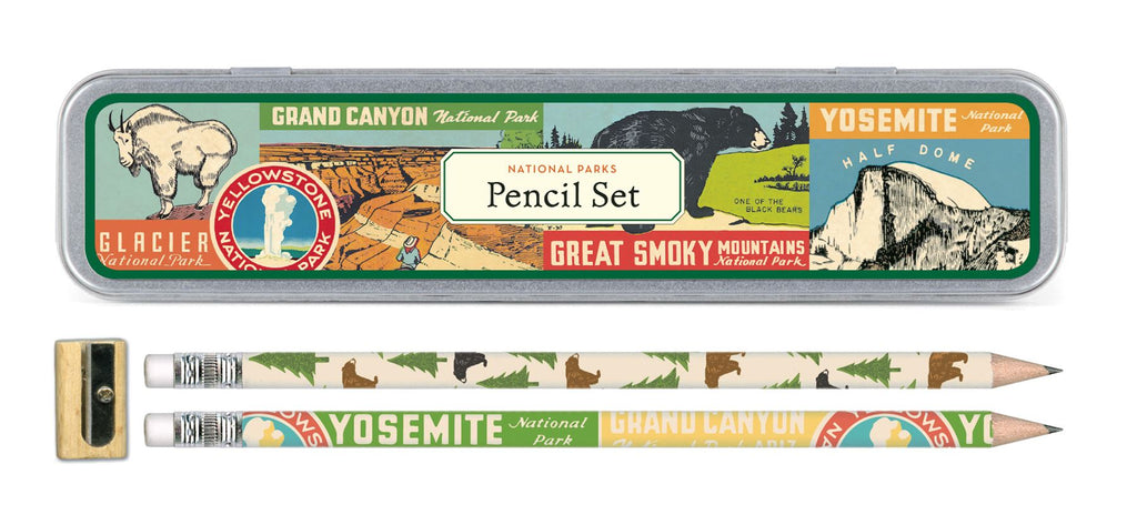 Cavallini - Tin of Pencils - American National Parks - 10 Pencils/2 Designs, & Sharpener
