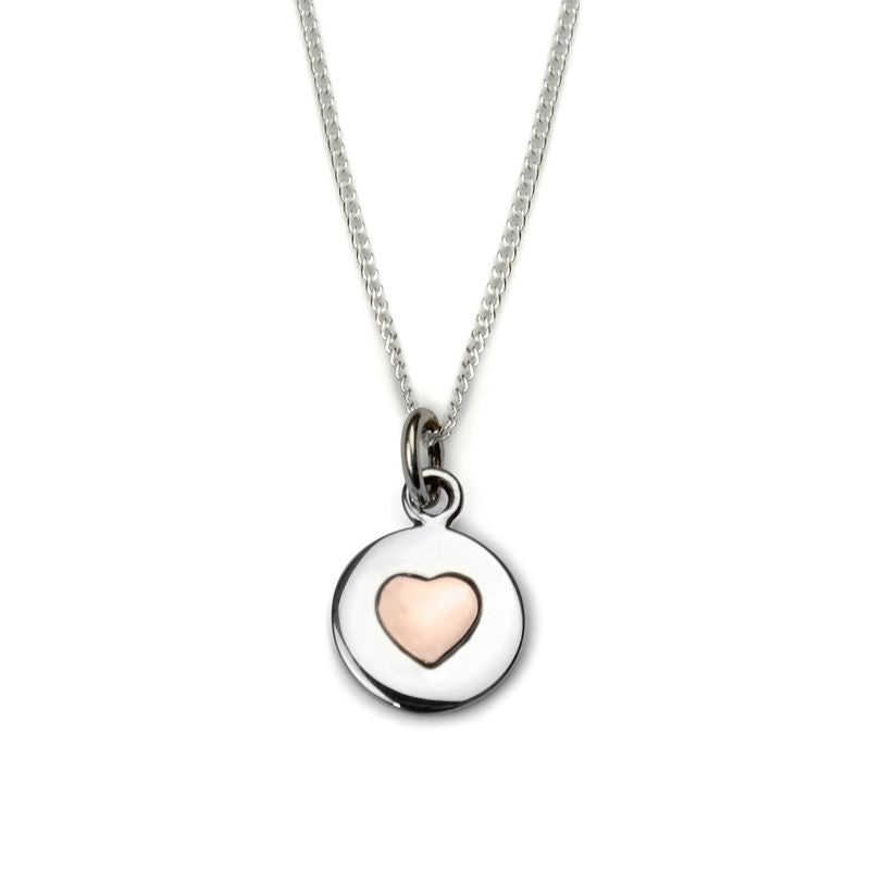 Sterling Silver - Love Circle Necklace - Rose Gold Heart - Tales From The Earth - Presented In Pale Blue Gift Box