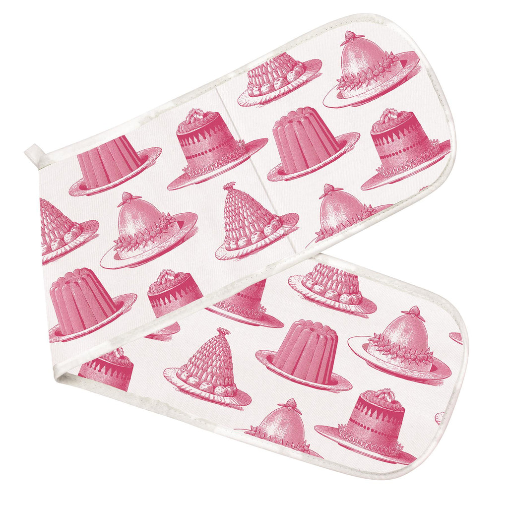 Thornback & Peel - 100% Cotton - Double Oven Glove/Mitt - Pink Jelly & Cake