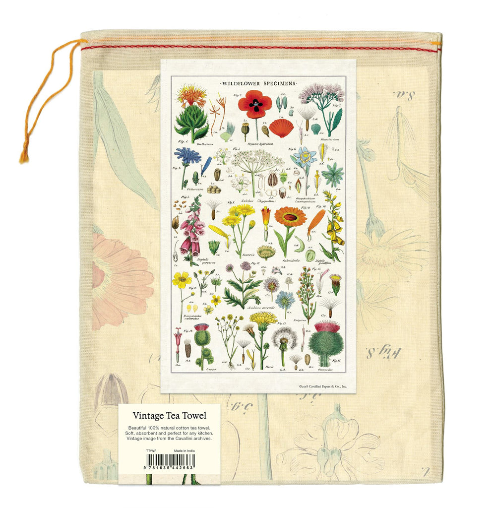 Cavallini - 100% Natural Cotton Vintage Tea Towel - 80 x 47cms - Wildflowers