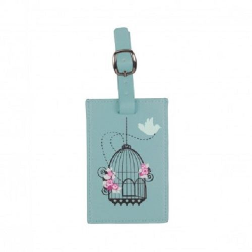 Bombay Duck - Vintage Birdcage - Duck Egg Blue Luggage Tag - Printed Faux Leather