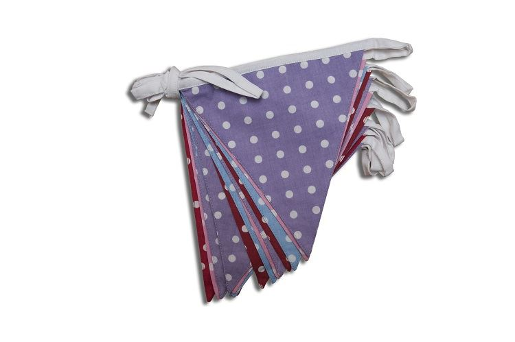 100% Cotton Bunting - Polka Dot - Lilac/Pink/Red/Blue-10m/33 Double Sided Flags