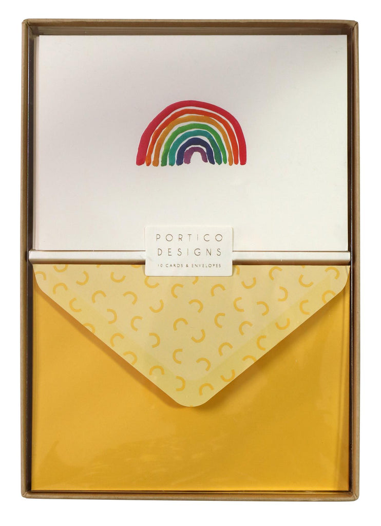 Rainbow Notecard Set - 10 Blank Note Cards & Matching Envelopes - Portico Designs