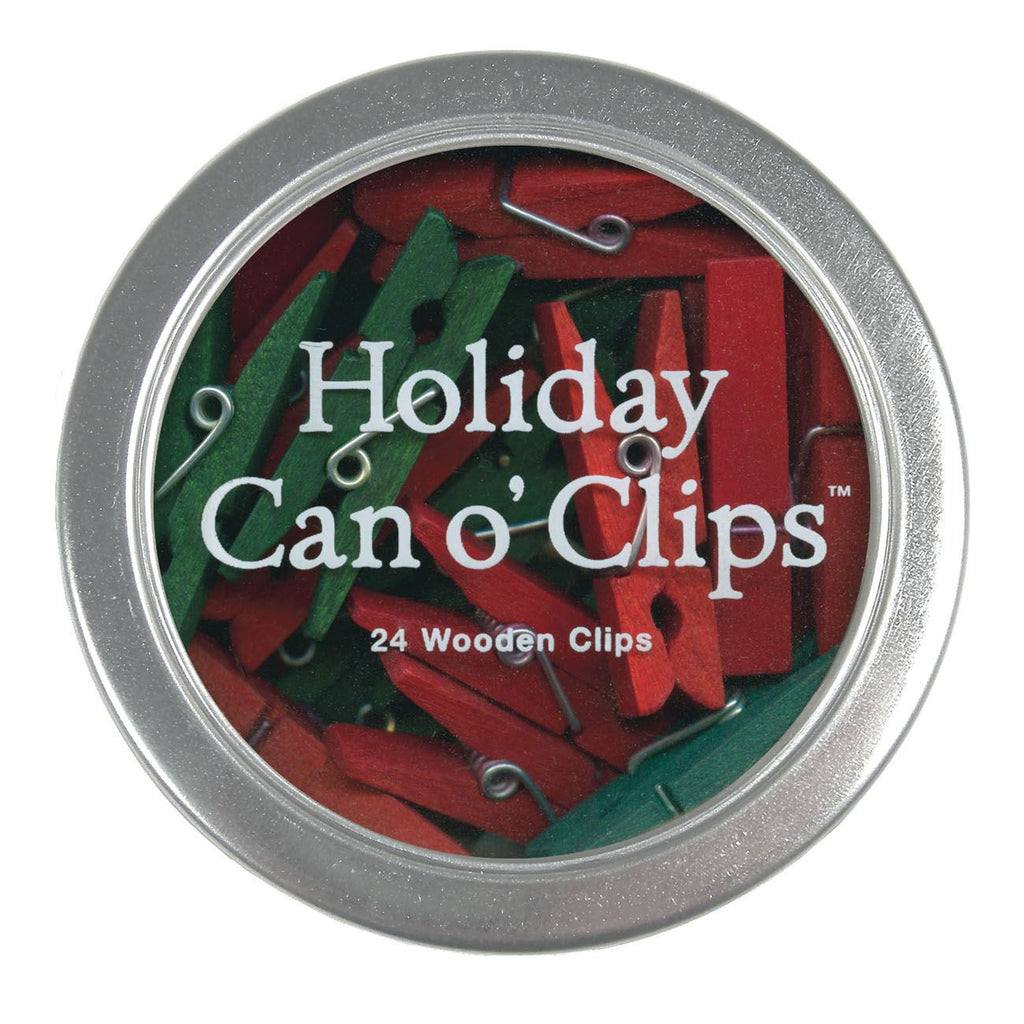 Cavallini - Can o' Clips - Tin of 24 Holiday Wooden Clips/Pegs - Red & Green Great for hanging art, cards and dolls clothes