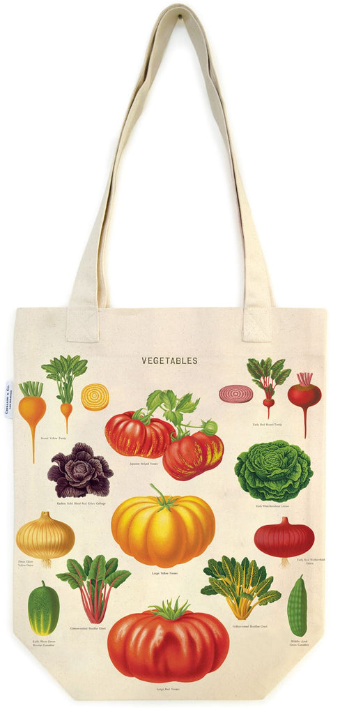 Cavallini - 100% Natural Cotton Vintage Tote Bag - 33x40.5cms - Garden Vegetables
