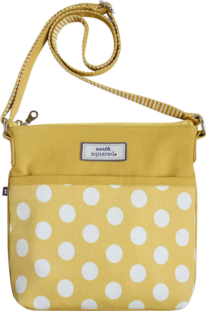 Earth Squared - Amelia - Spotty Messenger Bag - Yellow With White Spots - 26x24x4cms