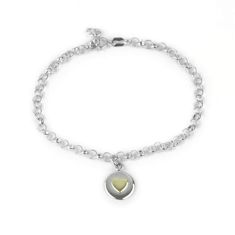 Sterling Silver - Love Circle Bracelet - Gold Heart - Tales From The Earth