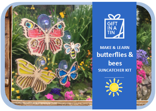 Apples To Pears - Garden & Wildlife - Gift In A Tin - Butterflies & Bees Suncatcher Kit
