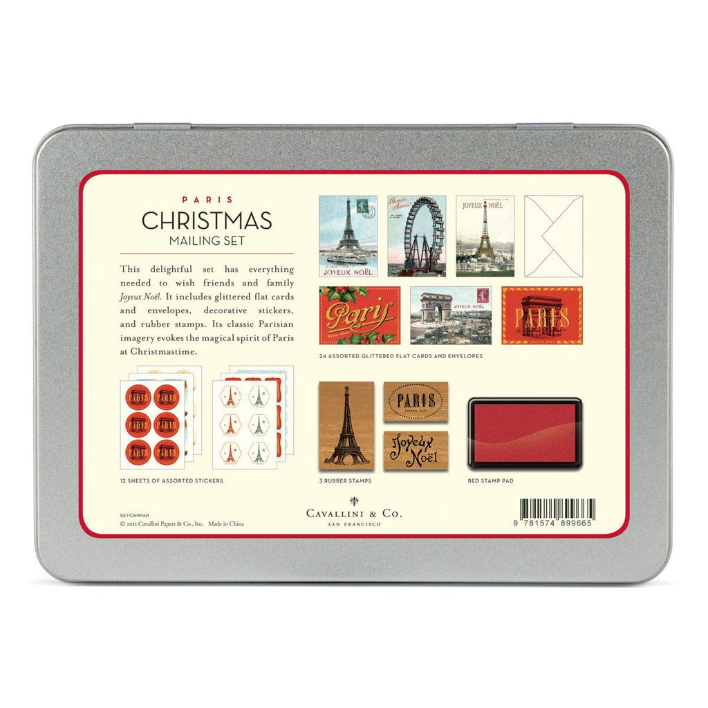 Cavallini - Mailing Set - Paris Christmas - Cards, Stamps, Stickers & Ink Pad (CHRPAR)