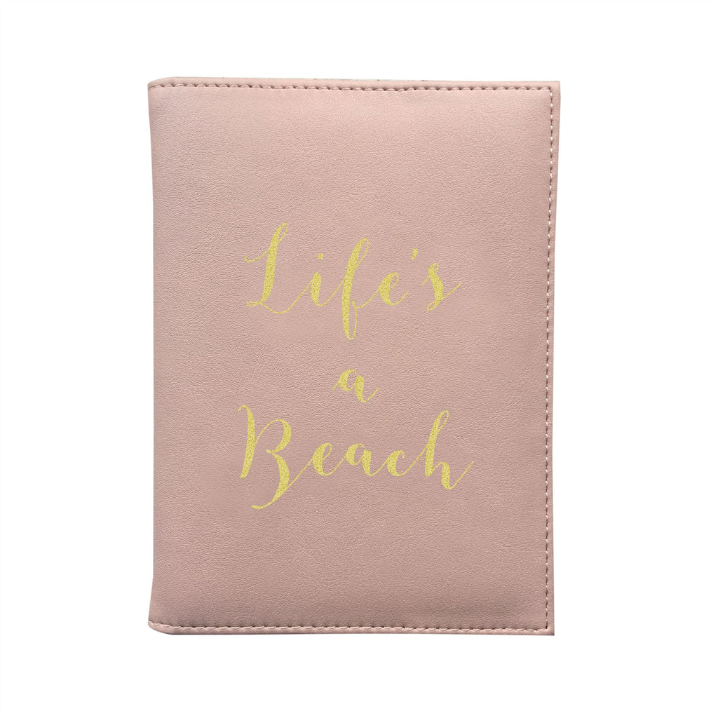 Bombay Duck - Life's A Beach - Soft Pink Passport Holder/Cover- Printed Faux Leather